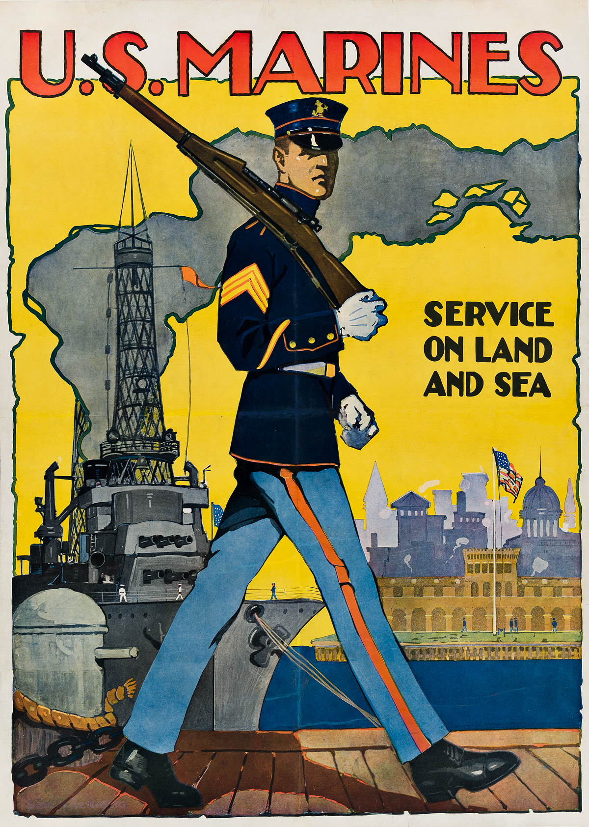 SIDNEY-H-RIESENBERG-(1885-1972)-US-MARINES--SERVICE-ON-LAND-AND-SEA-1917-35x25-inches-90x64-cm