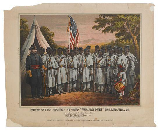 "(MILITARY--CIVIL WAR.) United States Soldiers at Camp ""William Penn"" Philadelphia, PA."
