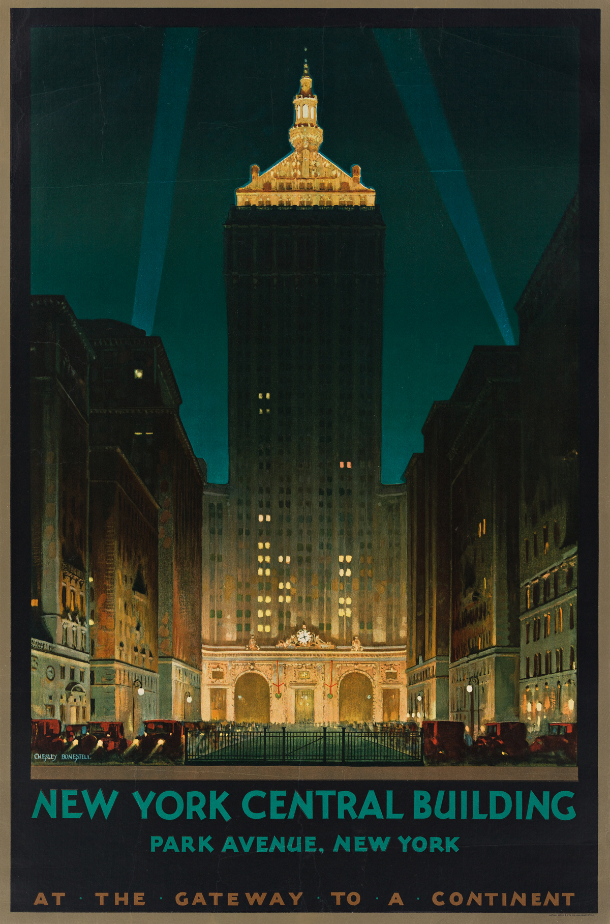 Chesley Bonestell (1888-1986).  NEW YORK CENTRAL BUILDING / AT THE GATEWAY TO A CONTINENT. Circa 1929.