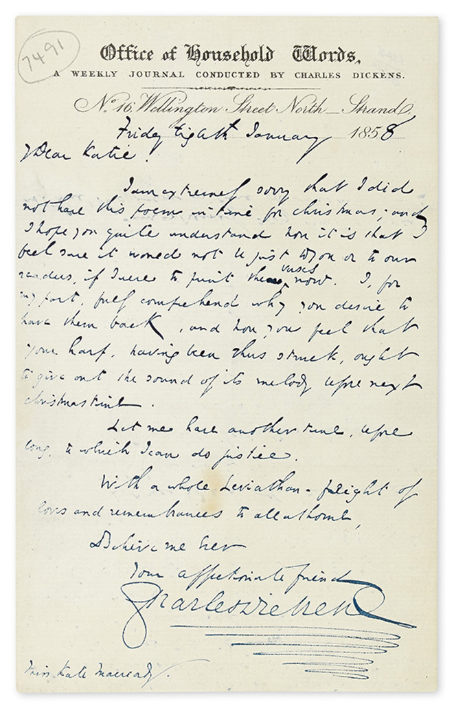 DICKENS, CHARLES. Autograph Letter Signed, to Catherine Macready (Dear Katie!),