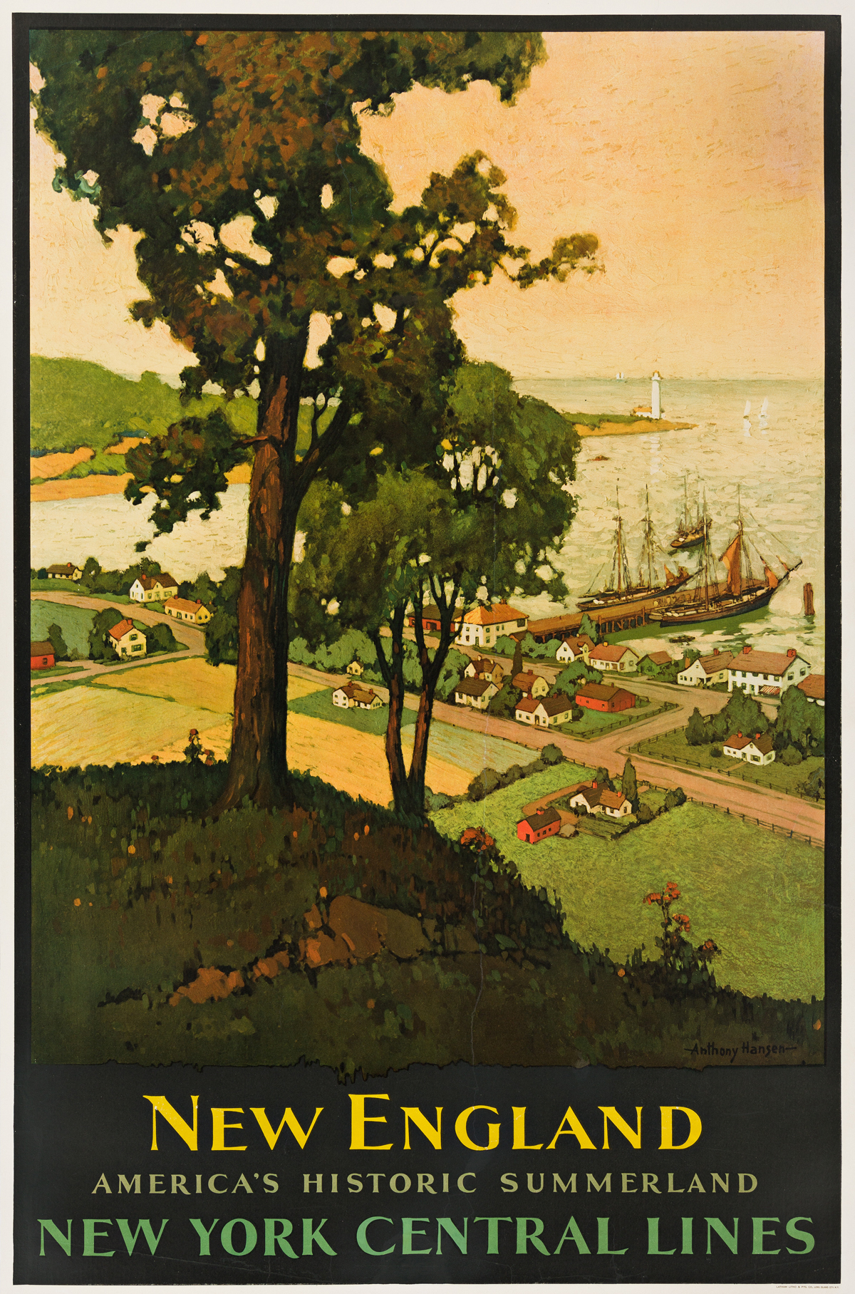 Anthony Hansen (Dates Unknown).  NEW ENGLAND / AMERICAS HISTORIC SUMMERLAND. Circa 1930s.