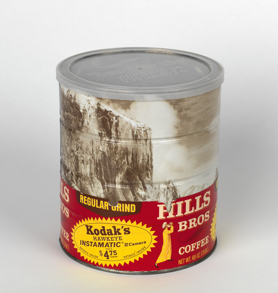 (ANSEL ADAMS) Hills Brothers coffee can, with a wraparound image of Adams Winter Morning, Yosemite Valley;