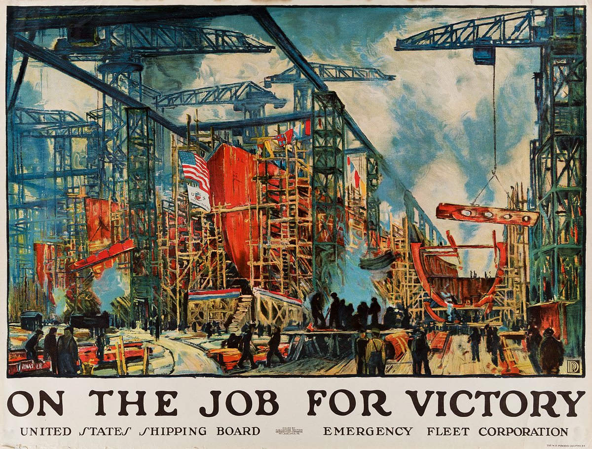JONAS-LIE-(1880-1940)-ON-THE-JOB-FOR-VICTORY-Circa-1918-29x38-inches-74x97-cm-WF-Powers-Co-Lith-New-York
