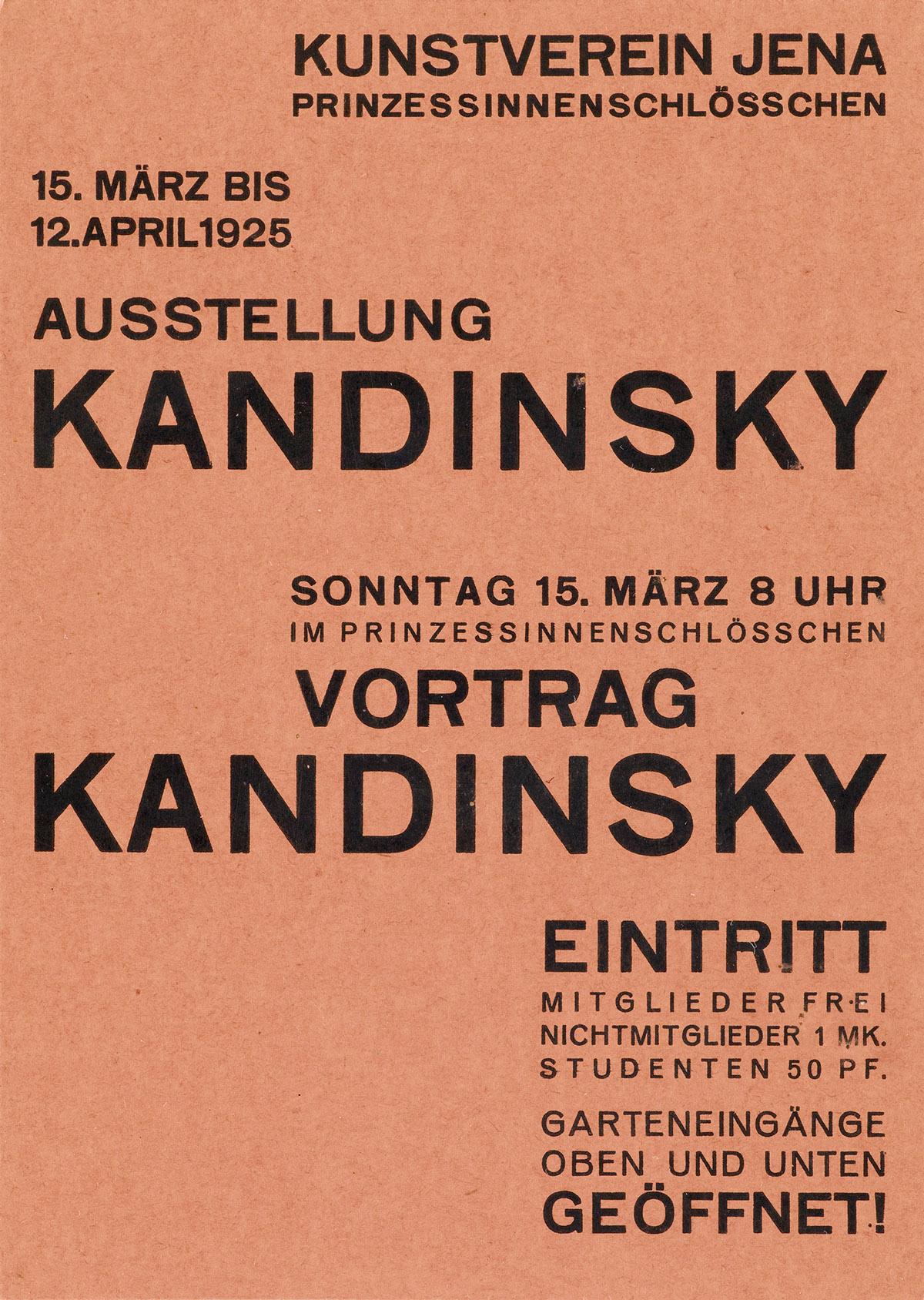 WALTER DEXEL (1890-1973). AUSSTELLUNG KANDINSKY. Invitation card. 1925. 5x4 inches, 14x10 cm.