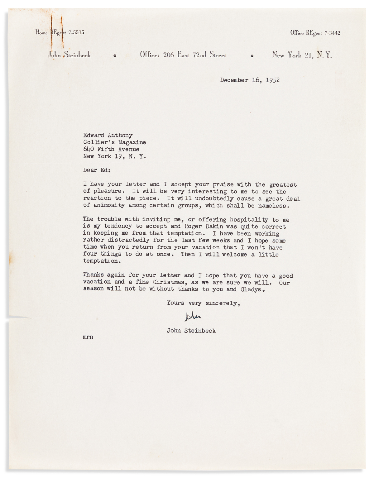STEINECK, JOHN. Typed Letter Signed, John, to author and Colliers editor Edward Anthony,