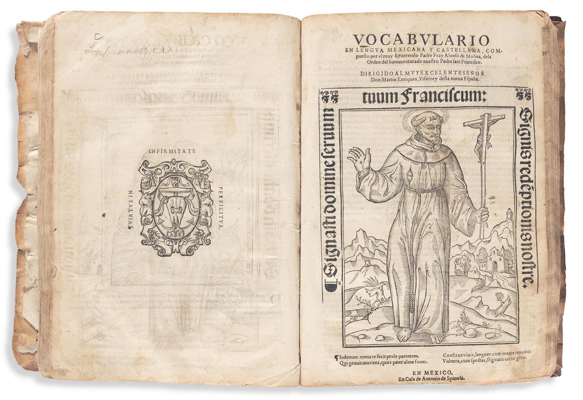 (MEXICAN IMPRINT--1571.) Alonso de Molina. Vocabulario en lengua castellana y mexicana * Vocabulario en lengua mexicana y castellana.
