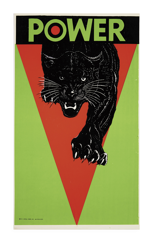 (BLACK PANTHERS.) Black-light poster titled Power featuring a stalking panther.
