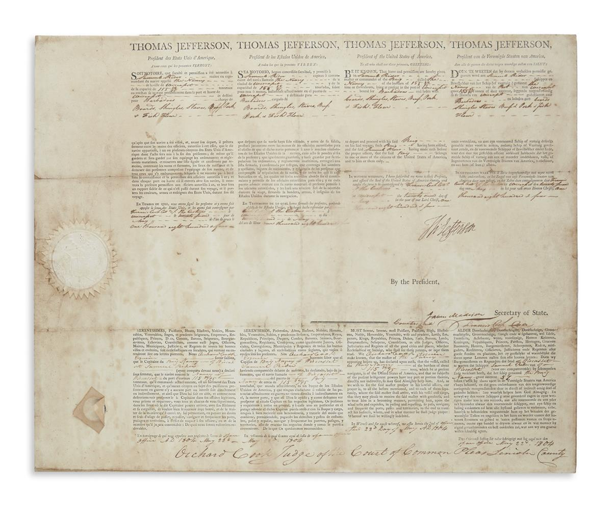 JEFFERSON, THOMAS. Partly-printed Document Signed, Th: Jefferson, as President, 4-language ships papers for the brig The Nancy.