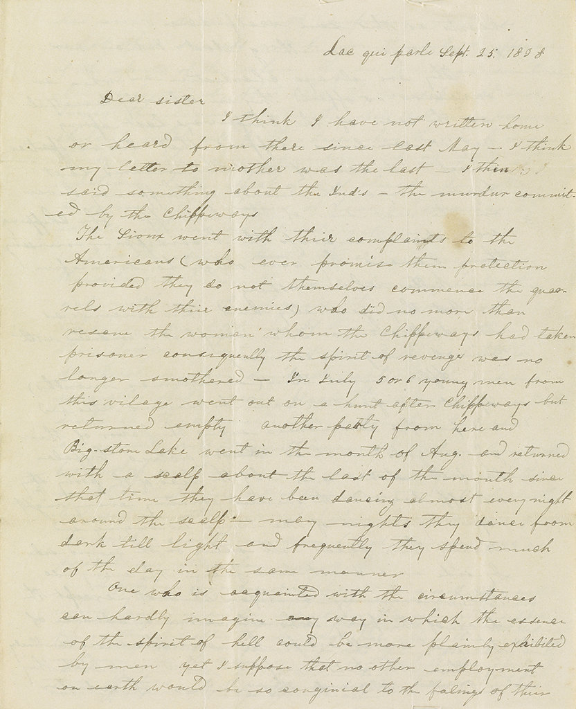 (MINNESOTA.) Large archive of Indian missionary letters written by the Pond family on the Minnesota frontier.