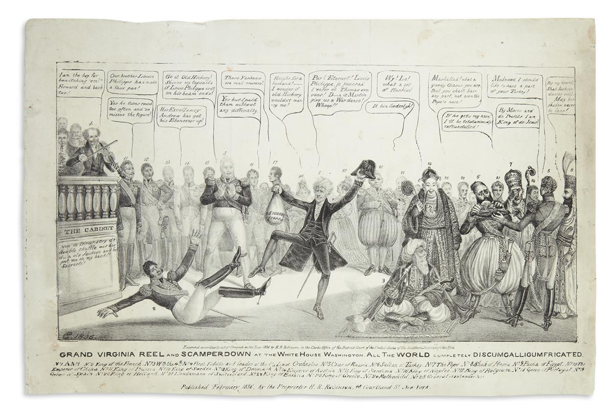 (PRESIDENTS--1831.) [Clay, Edward Williams]; artist. Grand Virginia Reel and Scamperdown at the White House.