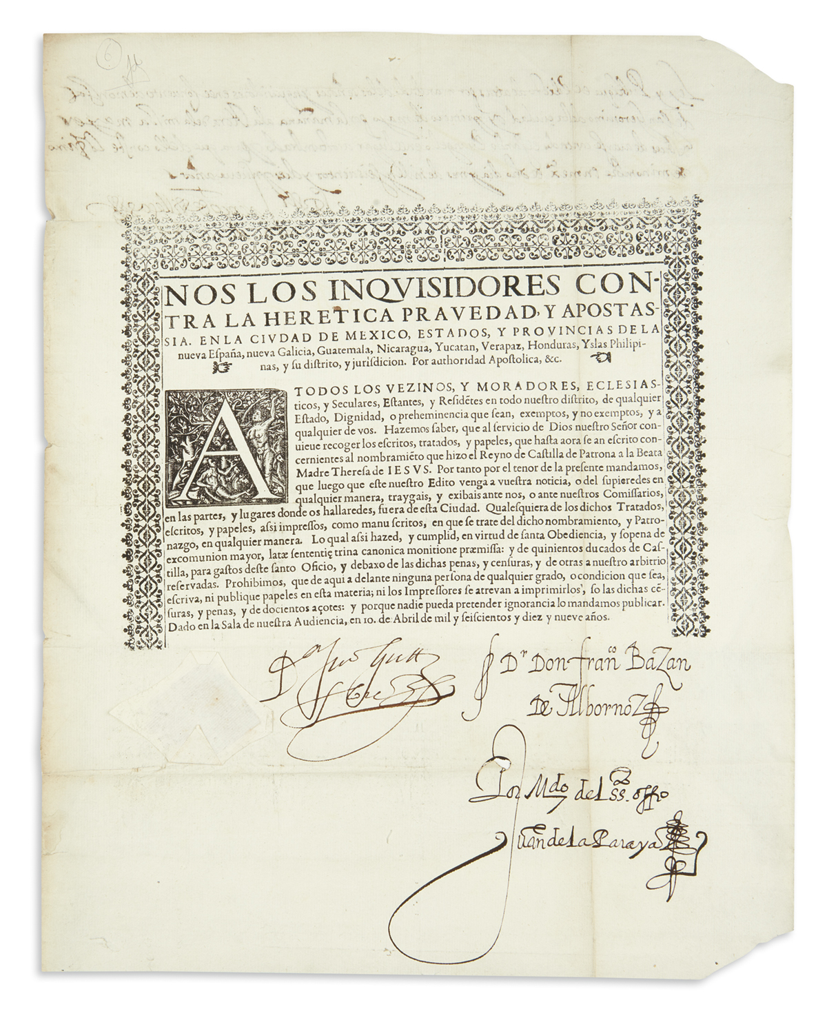 (MEXICAN IMPRINT--1619.) Edict by the Mexican Inquisition in opposition to Saint Teresa of Ávila.