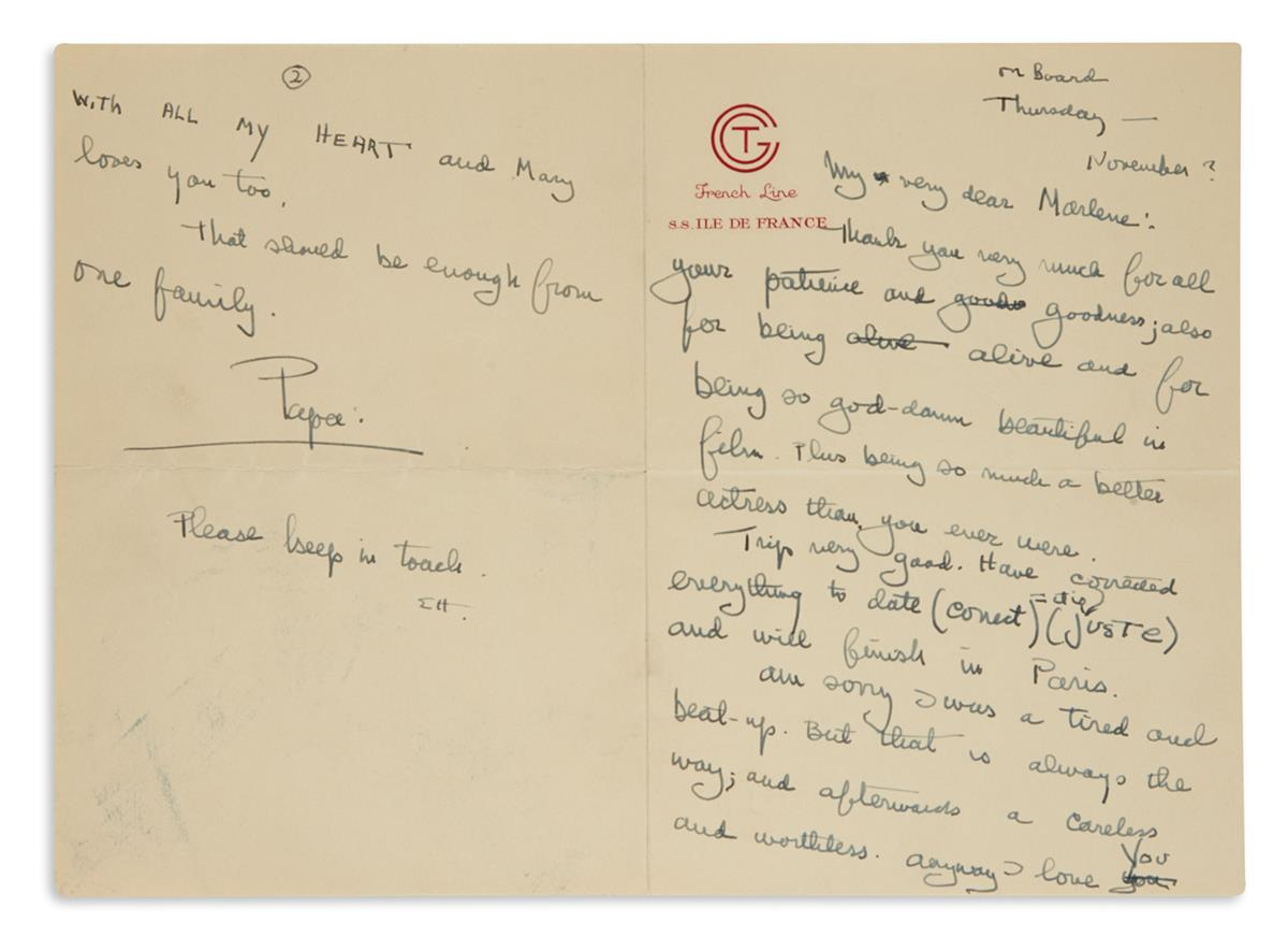 TO MARLENE DIETRICH: THANK YOU . . .  FOR BEING SO GOD-DAMN BEAUTIFUL ERNEST HEMINGWAY. Autograph Letter Si...