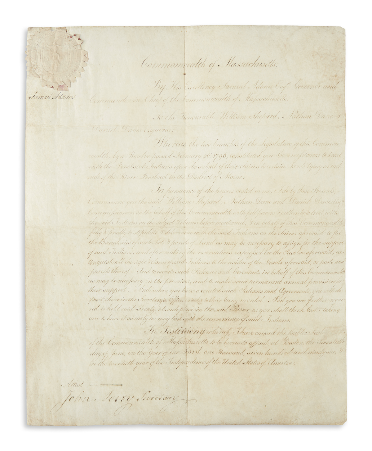 ADAMS-SAMUEL-Vellum-Document-Signed-as-Governor-appointing-t