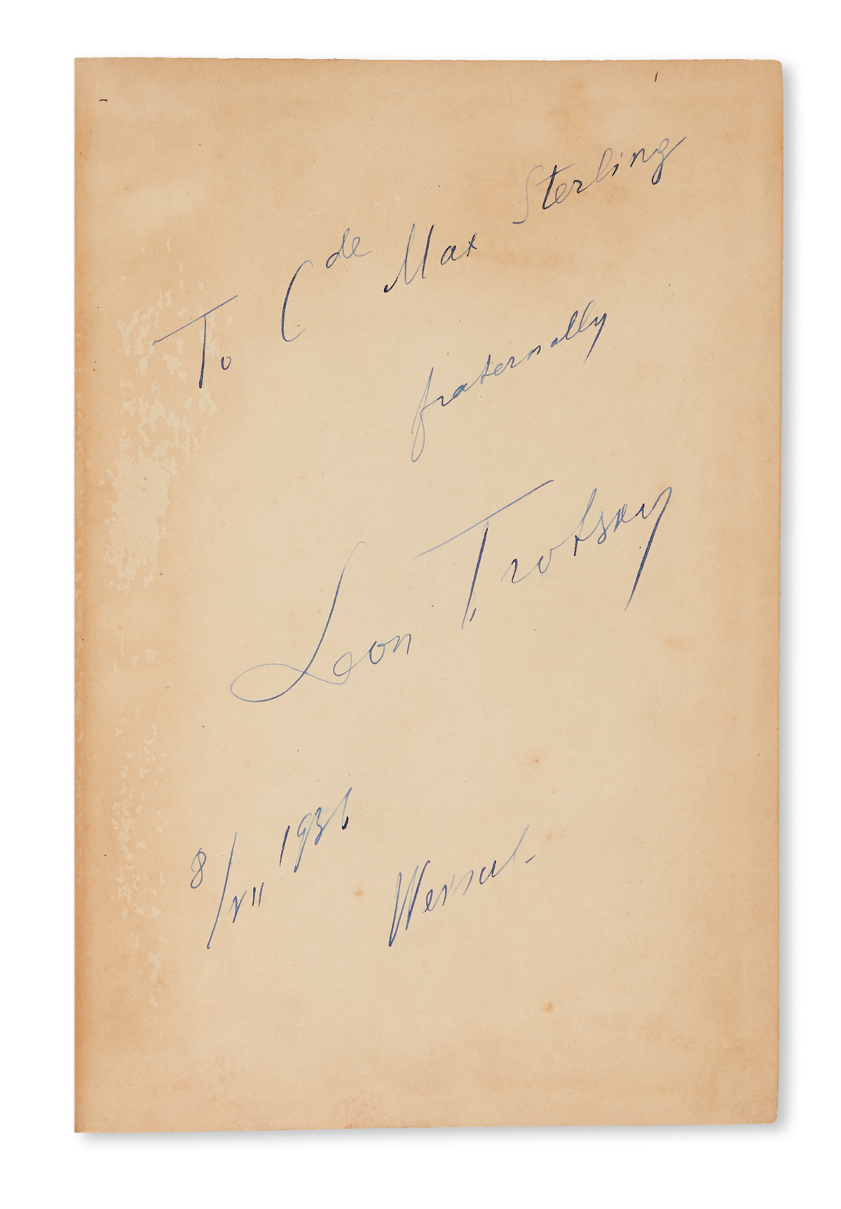 TROTSKY, LEON. The Third International After Lenin. Signed and Inscribed,