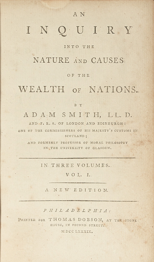 (EARLY AMERICAN IMPRINT.) Smith, Adam. An Inquiry into the Nature and Causes of the Wealth of Nations.