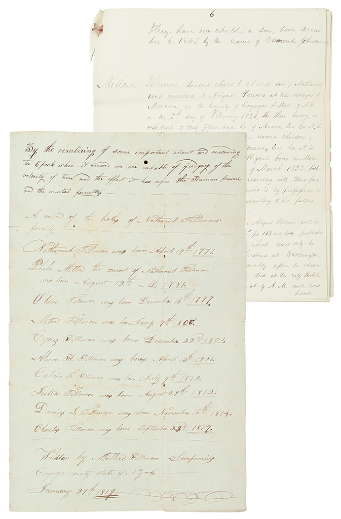 FILLMORE, MILLARD. Two Autograph Manuscripts Signed, five times, statements concerning the genealogy of his fathers family.