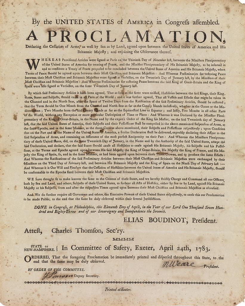 (AMERICAN REVOLUTION--1783.) New Hampshire broadside proclamation on the cessation of hostilities.