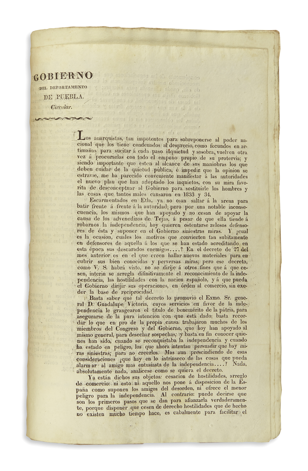 (MEXICAN IMPRINT--PUEBLA.) Bound volume of decrees issued by the state of Puebla, some relating to the war with Texas.