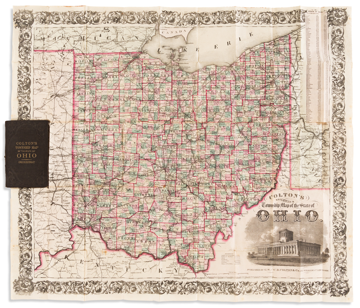 COLTON, G.W. & C.B. Coltons Railroad & Township Map of the State of Ohio.