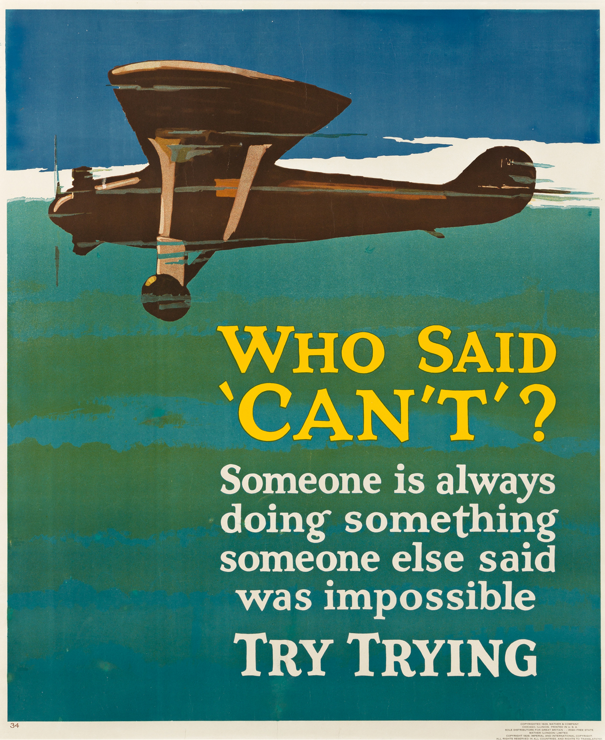 DESIGNER UNKNOWN.  WHO SAID CANT? / TRY TRYING. 1929. 43¾x36 inches, 111x91½ cm. Mather & Company, Chicago.