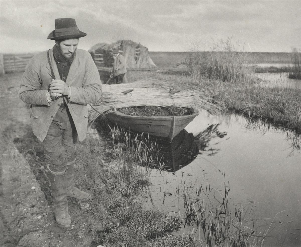 PETER HENRY EMERSON (1856-1936) Towing the Reed, pl. 26, from Life and Landscape on the Norfolk Broads.