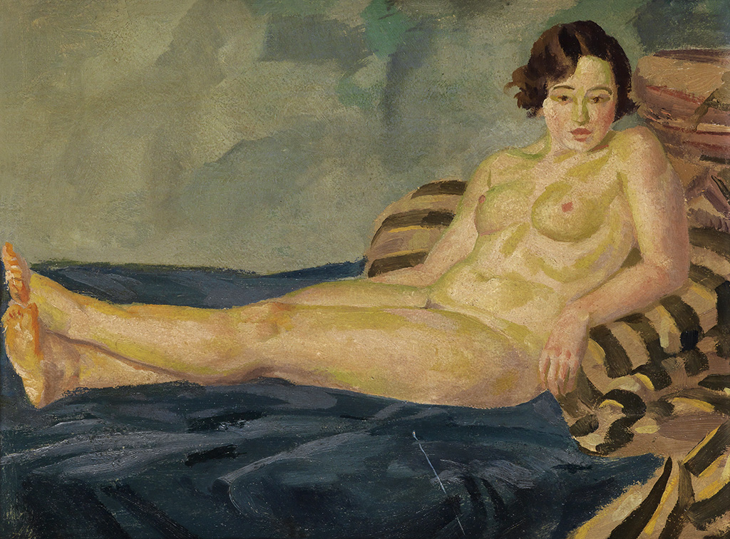 JOHN-SLOAN-Reclining-Female-Nude-on-Blue-and-Striped-Blankets