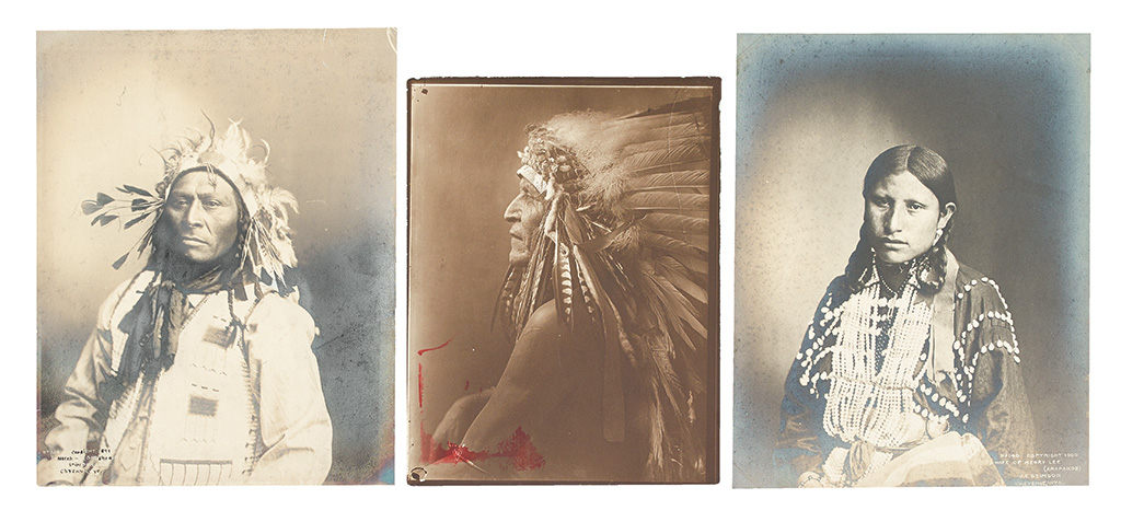 (AMERICAN-INDIANS--PHOTOGRAPHS)-Group-of-3-portrait-photogra