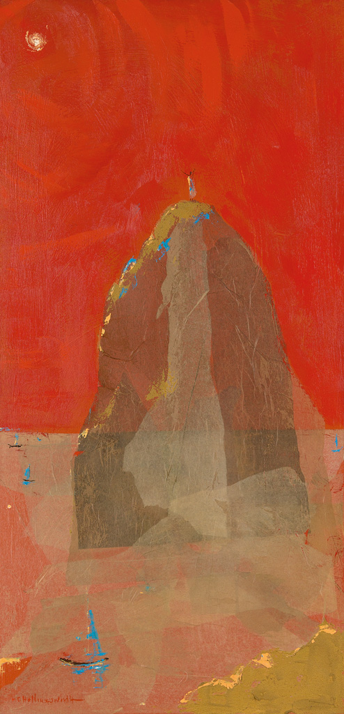 ALVIN CARL HOLLINGSWORTH (1928 - 2000) Untitled (Landscape with Figures and Red Sky).