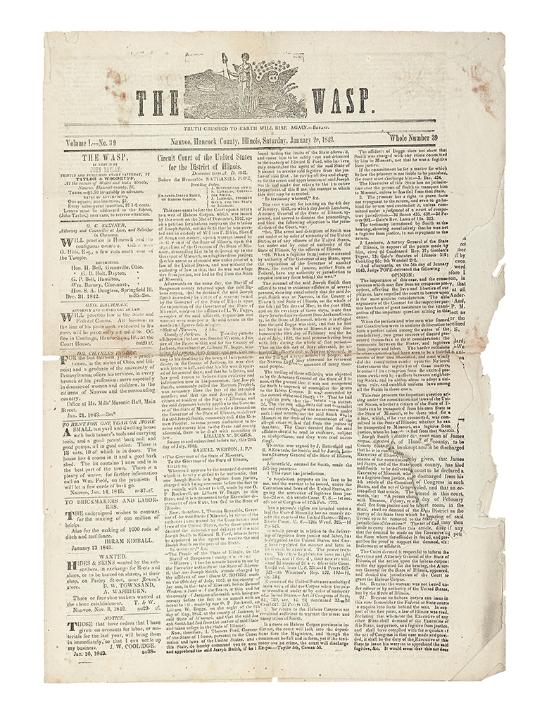 (MORMONS.) Issue of The Wasp.