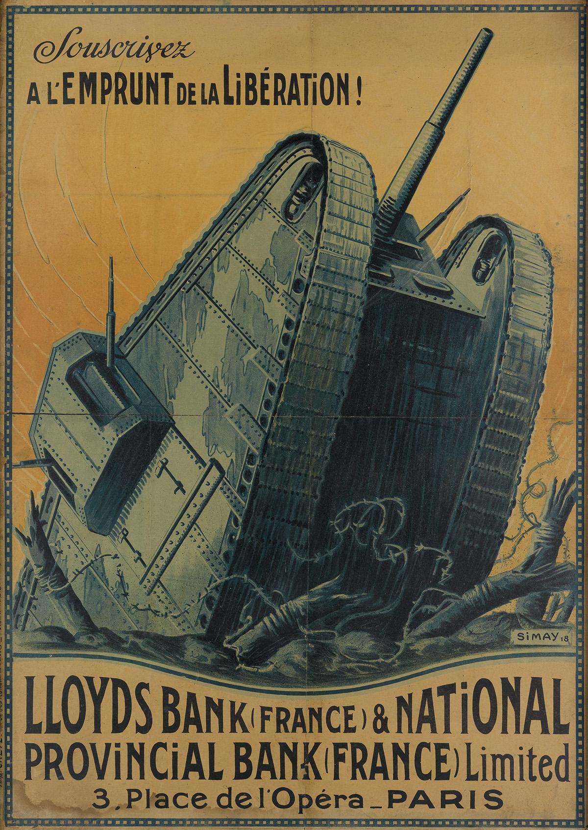 IMRE KAROLY SIMAY (1874-1955). SOUSCRIVEZ A LEMPRUNT DE LA LIBÉRATION! 1918. 42x30 inches, 108x76 cm. Crété, Paris.