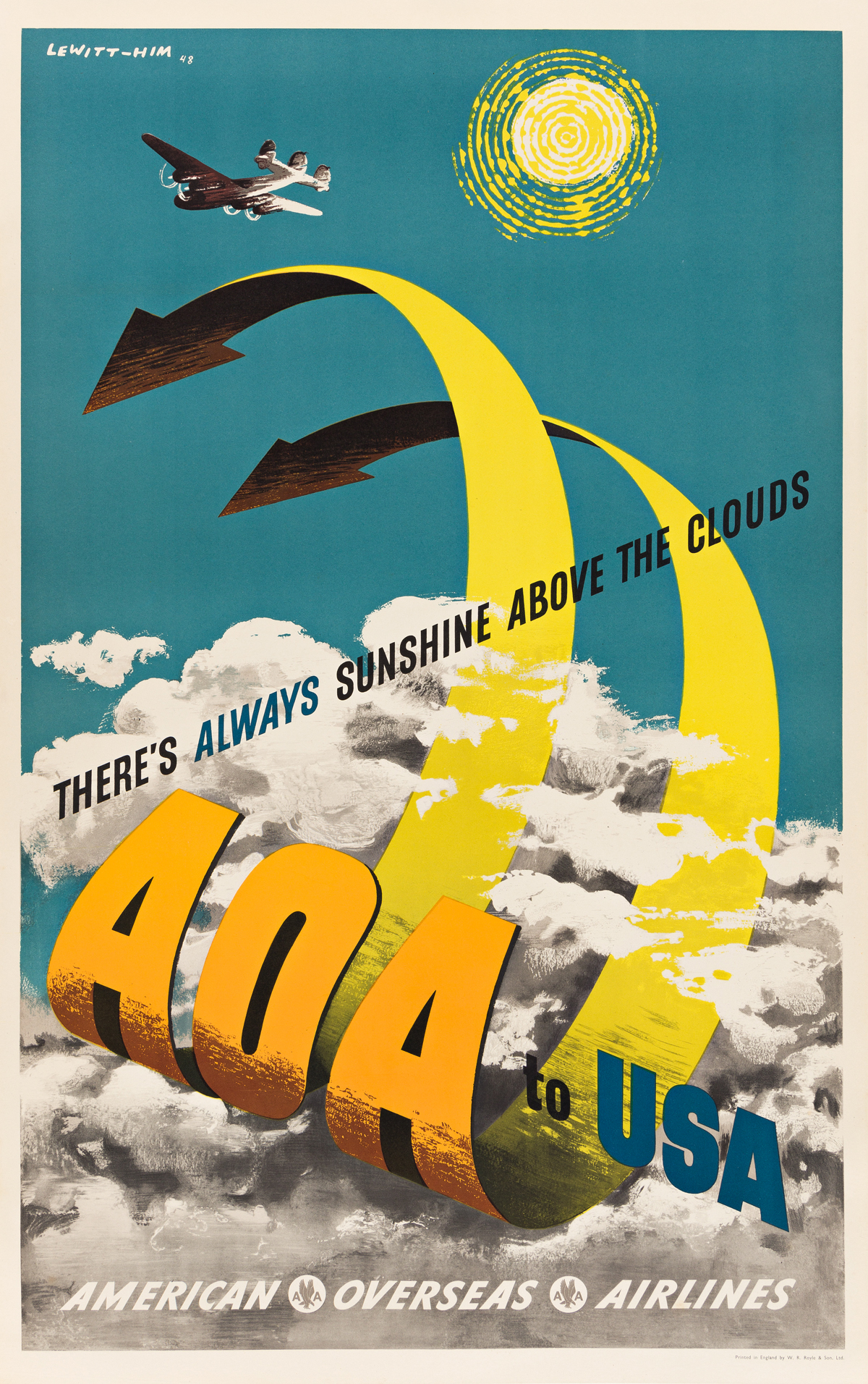 LEWITT-HIM (JAN LEWITT, 1907-1991 & JERZY HIM, 1900-1981).  AOA TO USA / AMERICAN OVERSEAS AIRLINES. 1948. 38x24 inches, 96½x63½ cm. W.