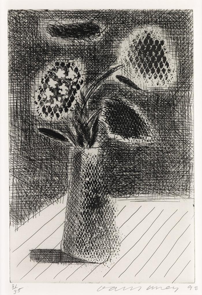 DAVID HOCKNEY Four Flowers in a Vase.