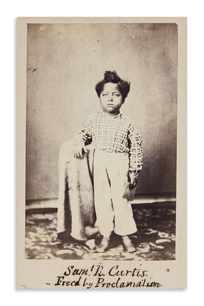 (SLAVERY AND ABOLITION.) Biffar, H.W.; photographer. Carte-de-visite of Samuel R. Curtis, freed by proclamation.
