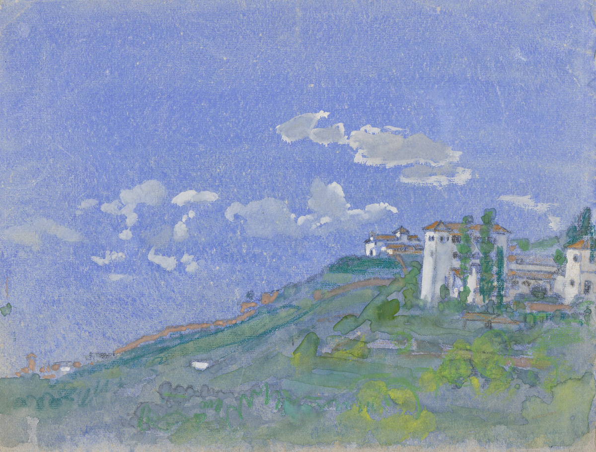 ARTHUR B. DAVIES Italianate Landscape with a Blue Sky.