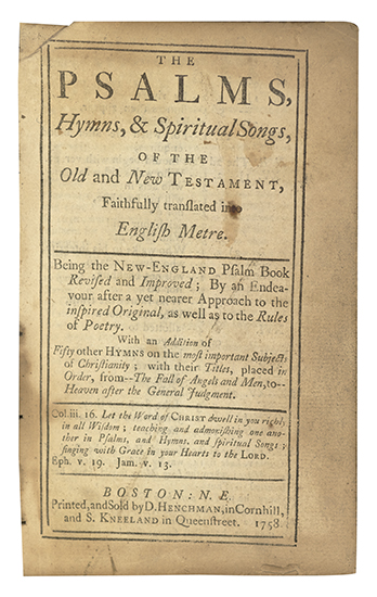(BIBLE IN ENGLISH. BOOK OF PSALMS.) The Psalms, Hymns, & Spiritual Songs, of the Old and New Testament,
