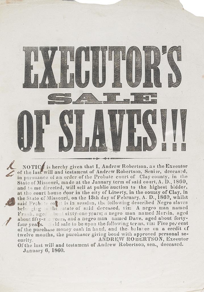 (SLAVERY AND ABOLITION--SLAVE SALES.) Executor's Sale of Slaves !!!