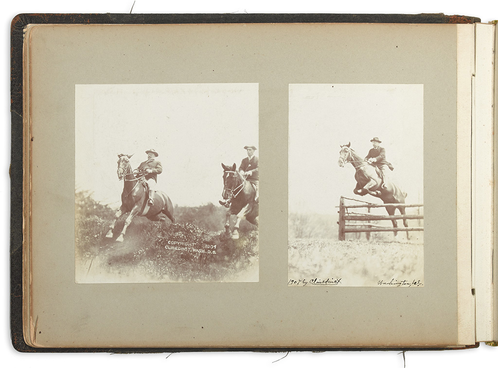 (ROOSEVELT, THEODORE.) Album of photographs of President Roosevelt on horseback, along with other family photos.