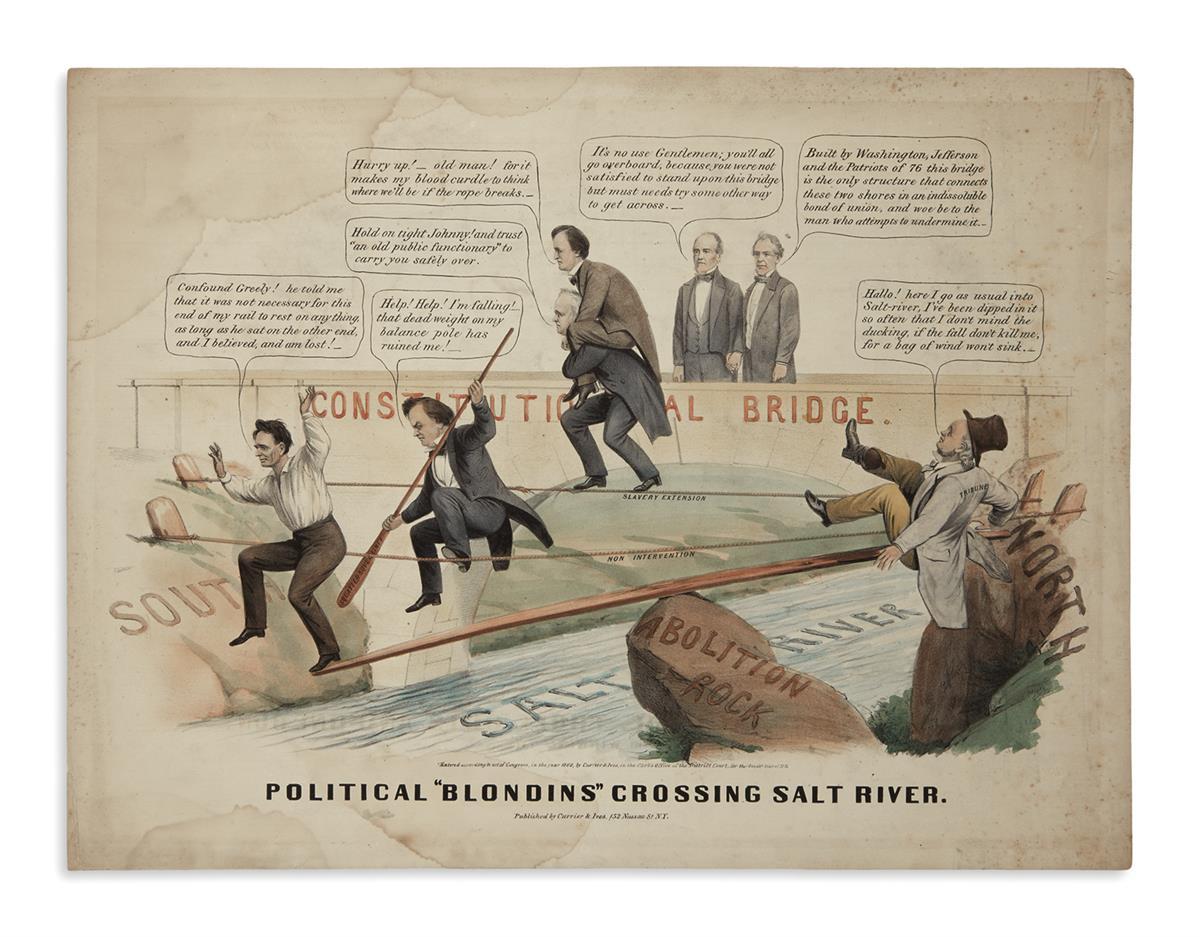 (PRINTS--CARTOONS)-Political-Blondins-Crossing-Salt-River