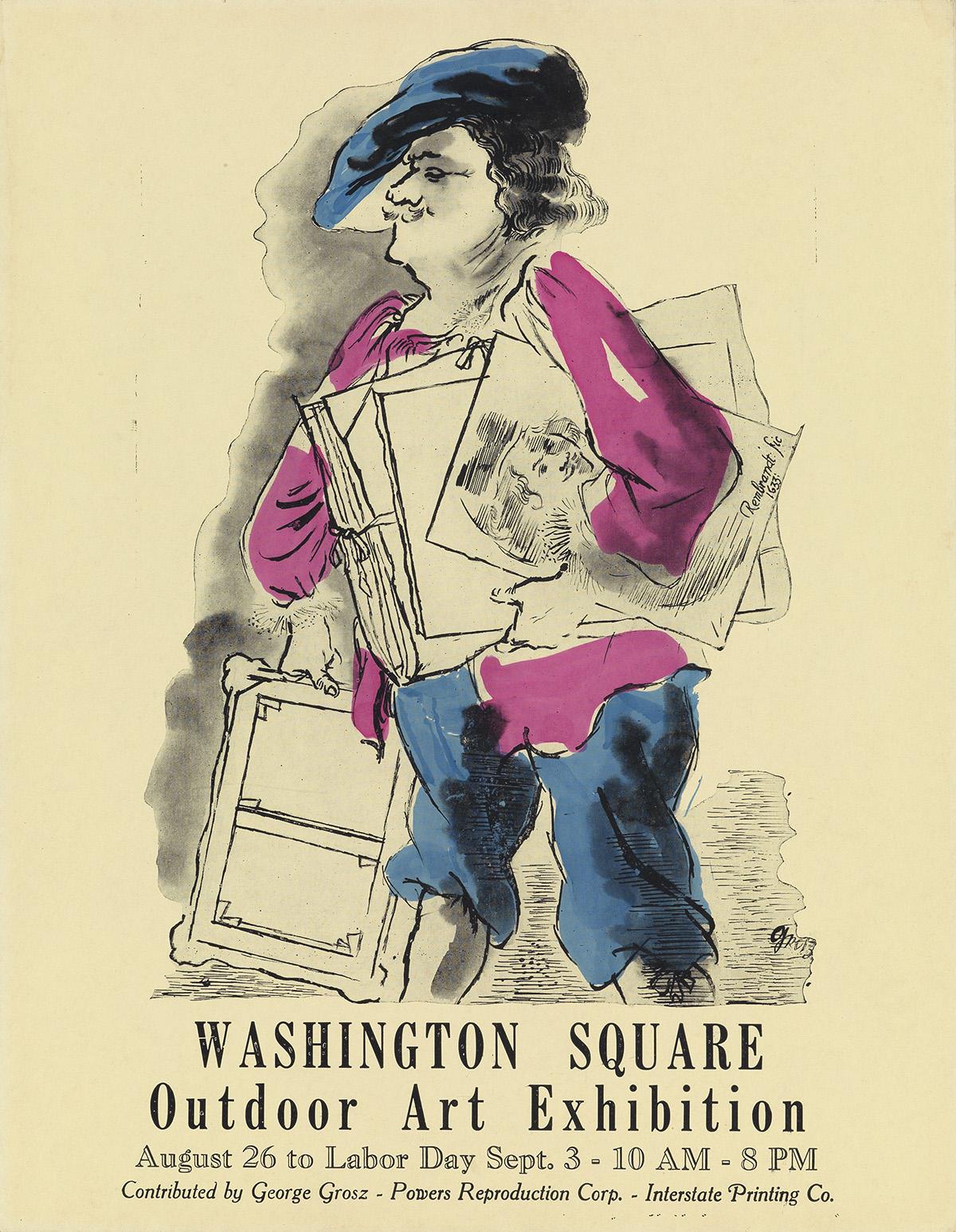 GEORGE GROSZ (1893-1959). WASHINGTON SQUARE / OUTDOOR ART EXHIBITION. 1934. 14x10 inches, 35x27 cm. Interstate Printing Company, New Yo