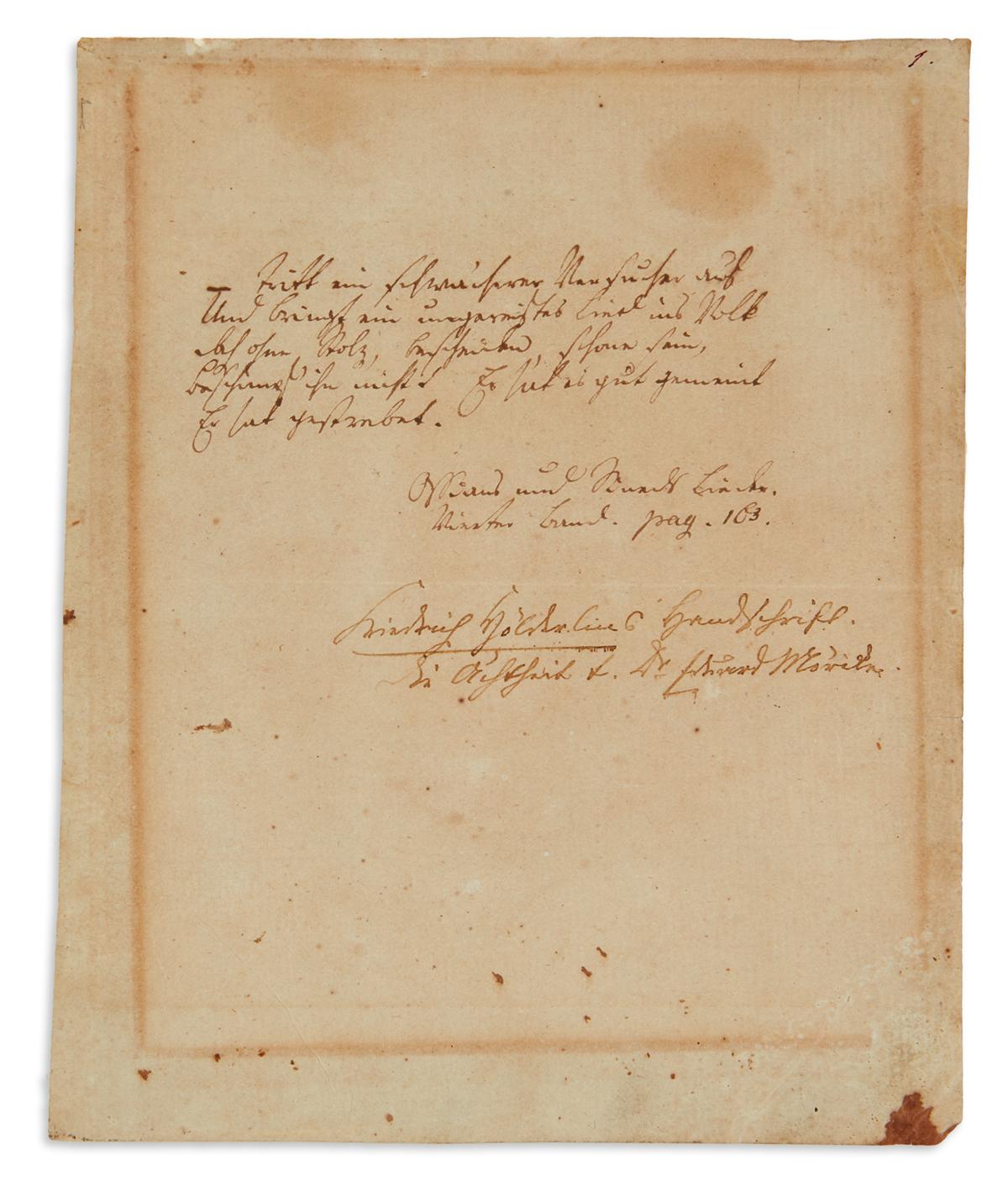 HÖLDERLIN, FRIEDRICH. Autograph Manuscript, unsigned, 7 lines quoting a stanza from Michael Deniss Ossians und Sineds Lieder, in Germa