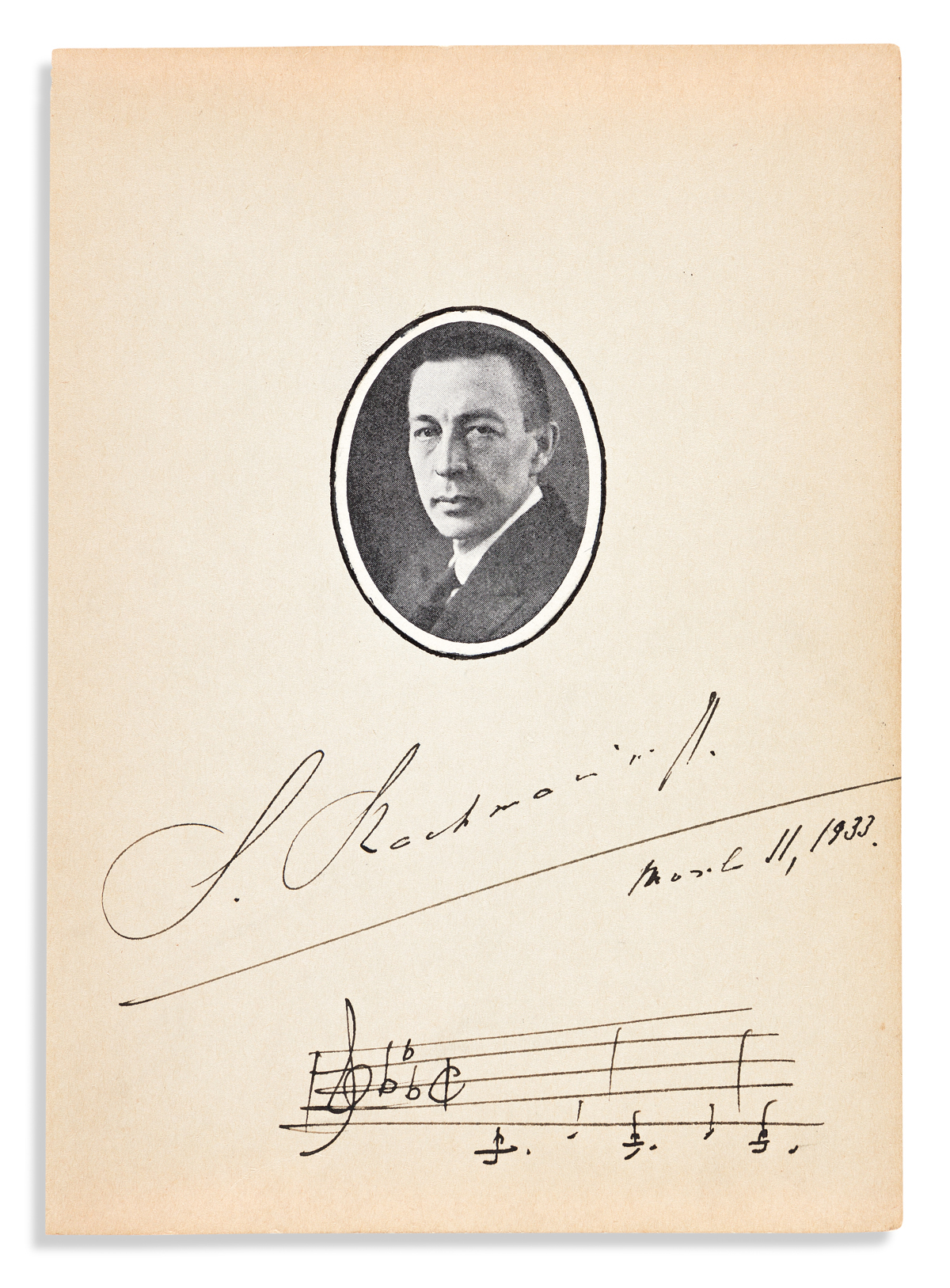 """RACHMANINOFF, SERGEI. Autograph Musical Quotation dated and Signed, """"S. Rachmaninoff,"""" three bars from his 2nd concerto for piano,"""