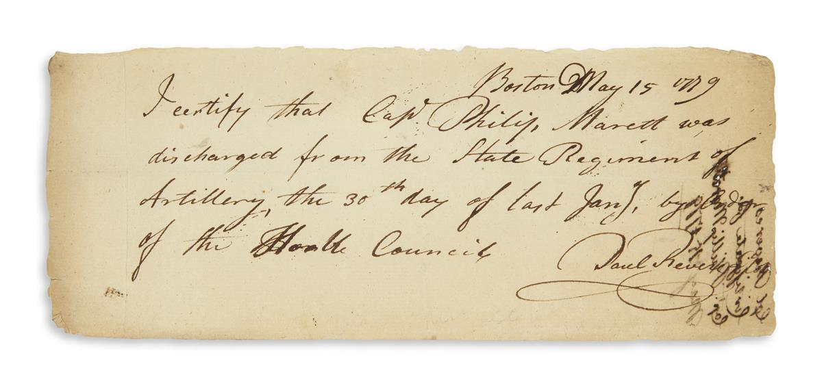 REVERE, PAUL. Autograph Document Signed: