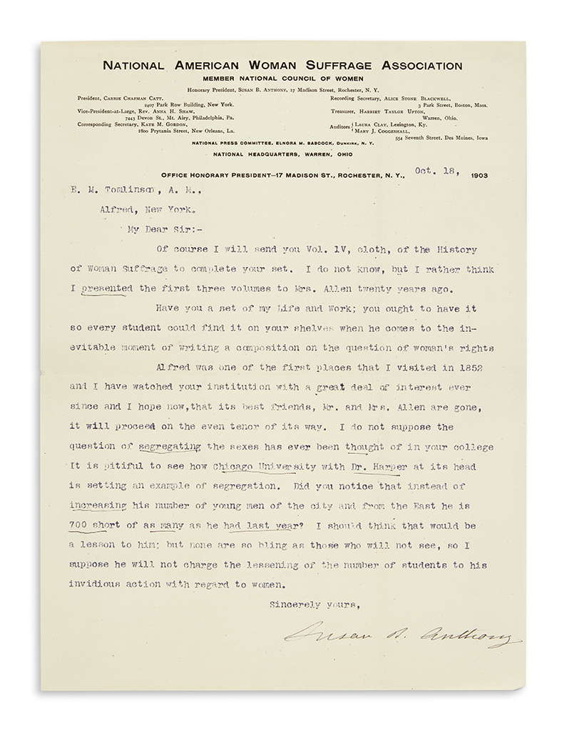 ANTHONY, SUSAN B. Typed Letter Signed, to E.M. Tomlinson,