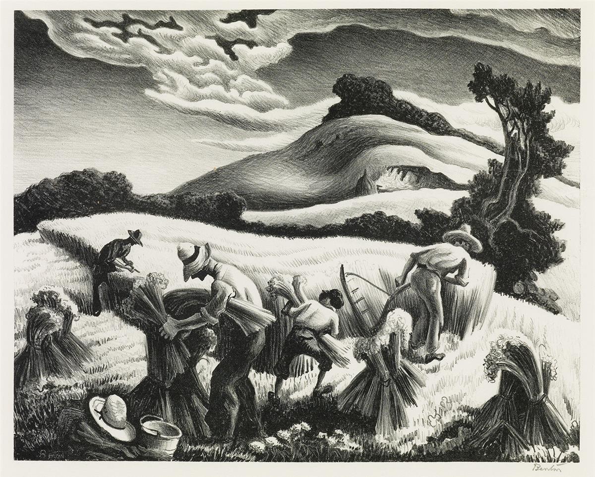 THOMAS-HART-BENTON-Cradling-Wheat