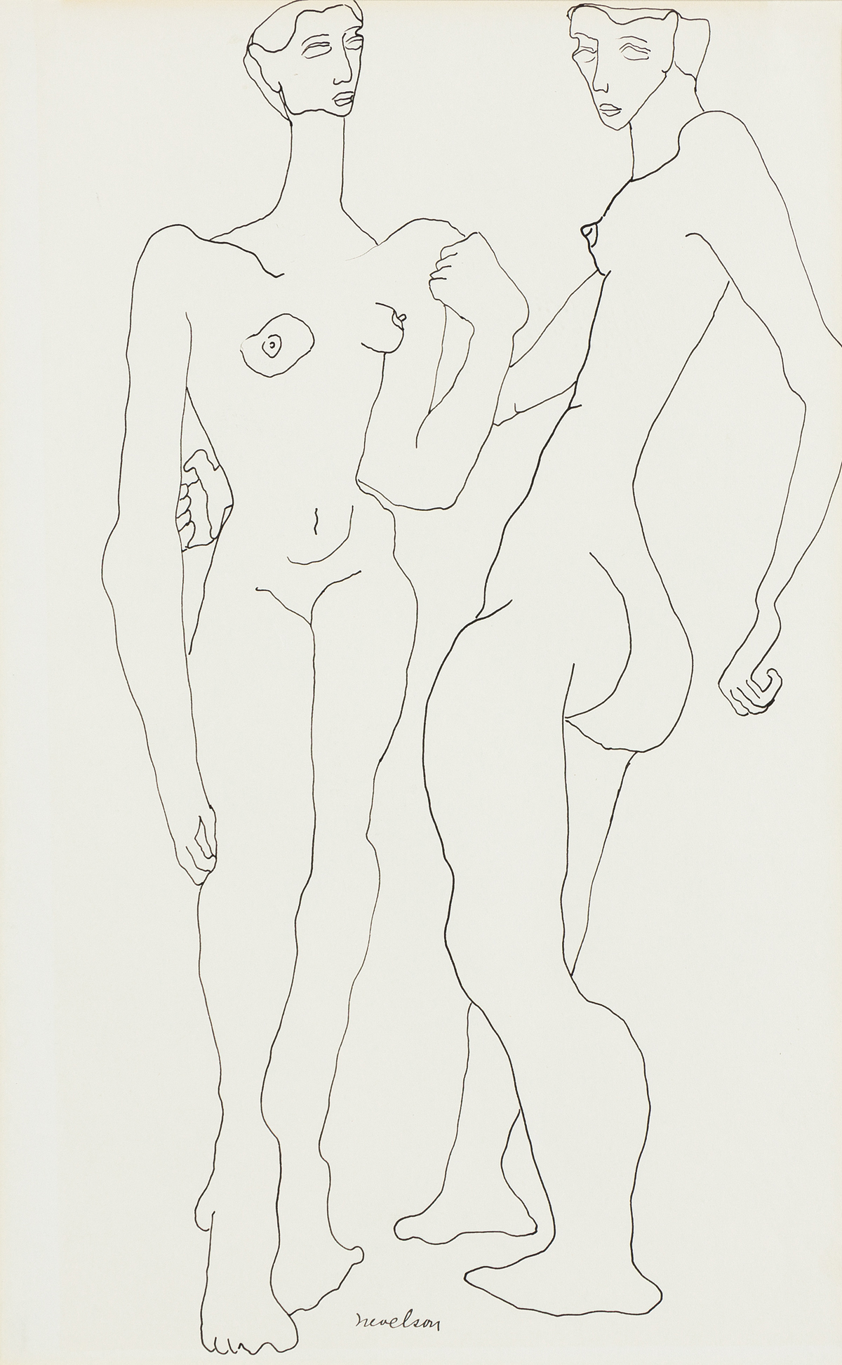 LOUISE NEVELSON Two Standing Nudes.