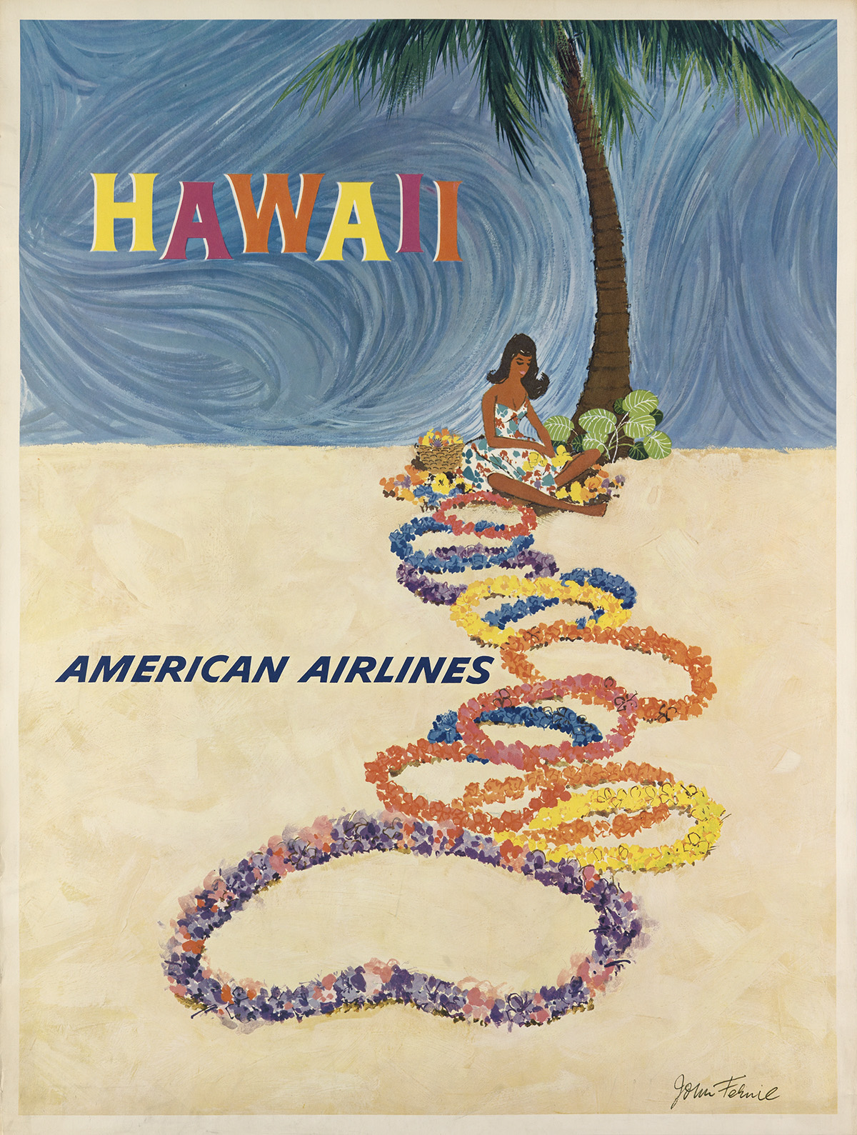 JOHN-FEHMIL-(DATES-UNKNOWN)-HAWAII--AMERICAN-AIRLINES-39x30-