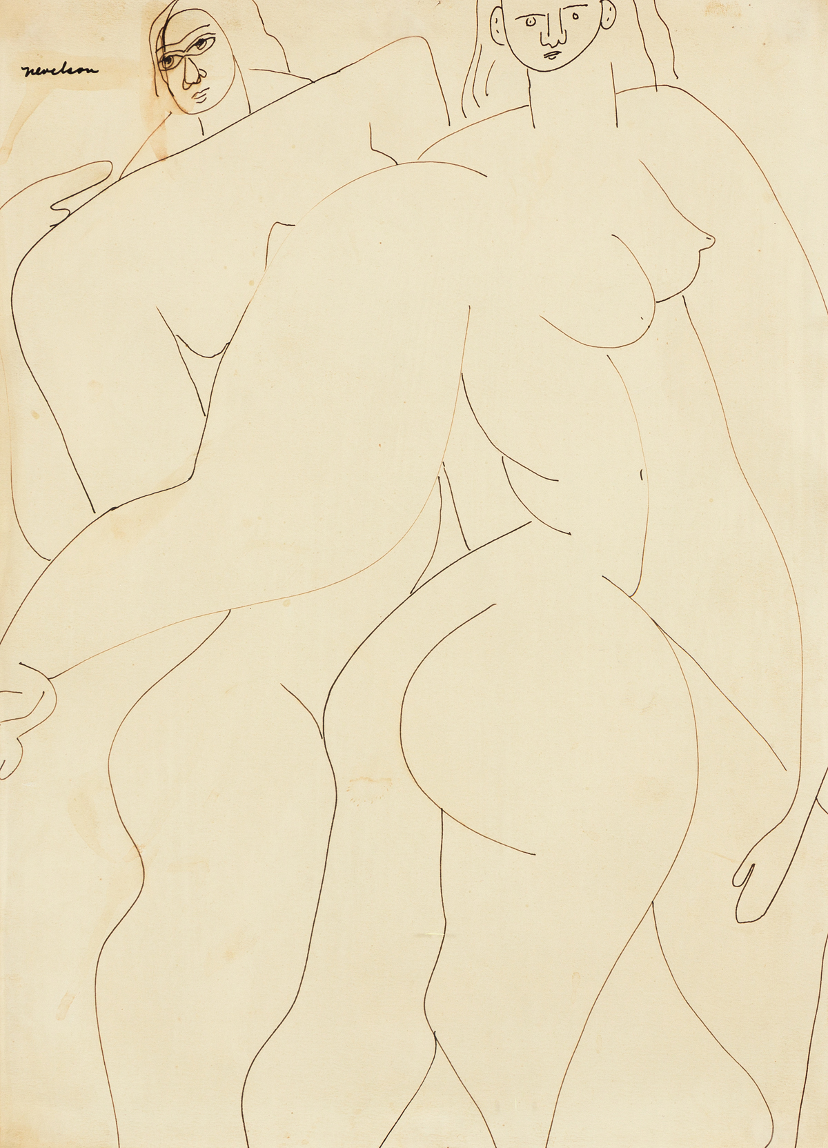 LOUISE NEVELSON Two Nudes.