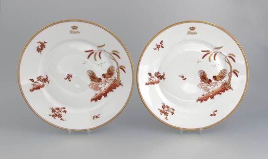 (ITALIAN LINE.) Rex. Two First Class 9¾ service plates inCcockerel pattern,