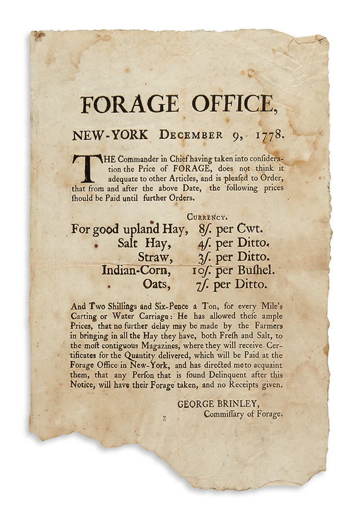 (AMERICAN REVOLUTION--1778.) Brinley, George. An unrecorded broadside setting the prices for forage in occupied New York.