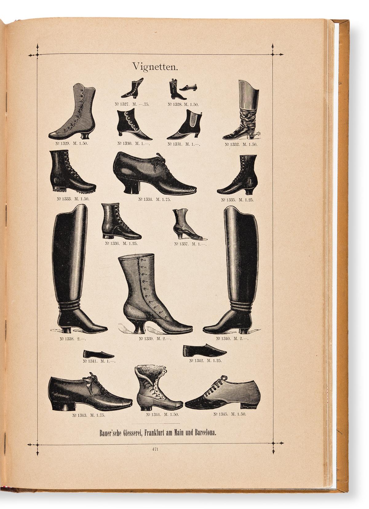 [SPECIMEN BOOK — BAUER'SCHEN GIESSEREI]. Musterbuch der Bauer'schen Giesserei. Frankfurt and Barcelona, 1900.